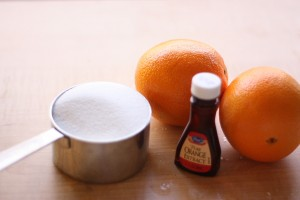Ingredients: 1 cup sugar, the peel of two large oranges, 1-2 drops of orange extract, 3/4 cup water