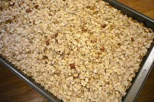 Oats and other dry ingredients, to toast