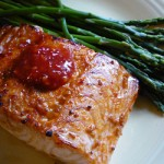 Garlic Chili Asian Salmon with asparagus