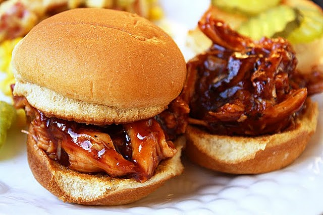 Yum! BBQ Pulled Chicken Sandwiches from The Comfort of Cooking ...