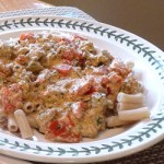 Penne Pasta with Cream, Pesto and Tomatoes