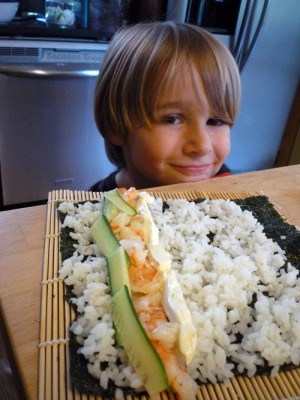 making sushi with my little helper