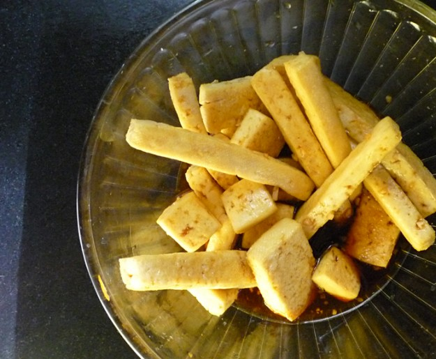 Marinate your tofu for several hours, in the marinade of your choice.