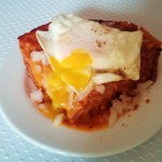 red enchiladas with egg