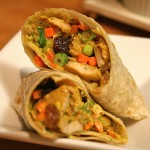 curry wrap with chicken, raisins and nuts recipe