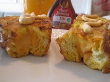 9. When done cooking, top each french toast with a drizzle of the remaining pumpkin filling. Serve with syrup and enjoy!!
