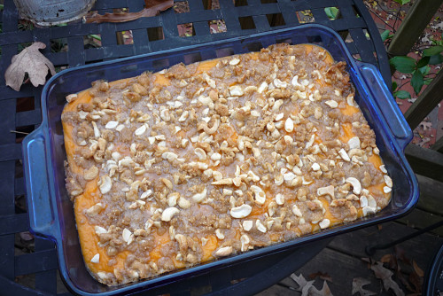 Sweet Potato Casserole with Maple Cashew Topping