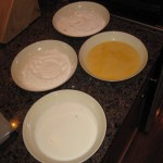 the dip trays - milk, flour, egg, cornmeal