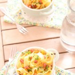 Fettuccini with Fresh Corn Pesto and Pancetta