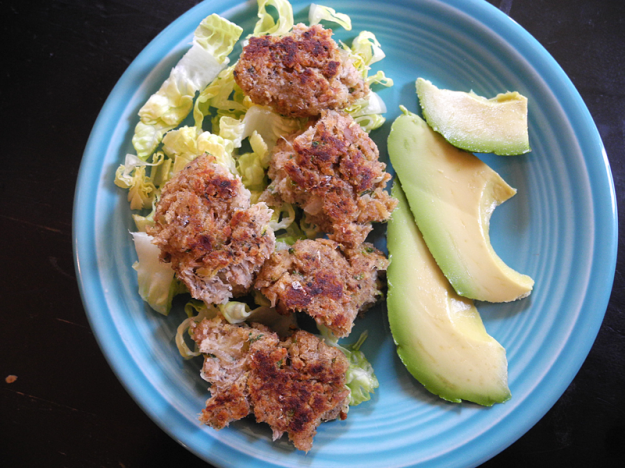 """krabby patties?"" nope, fish cakes: sardine, tuna, zucchini"
