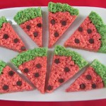 Watermelon Krispie Slices