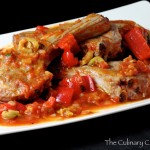 Lamb Chops Calabria Style with Tomatoes, Peppers, and Olives