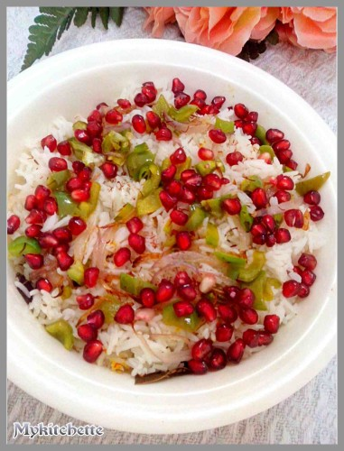 saffron rice with pomegranates