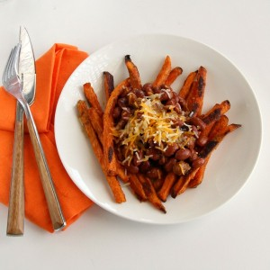 Sweet Potato Fries with Chili and Cheese