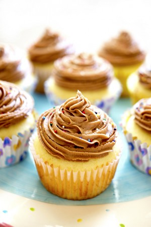 Yellow Cupcakes with Nutella Buttercream Frosting