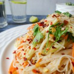 Cold rice noddle salad in peanut sauce dressing-1-4