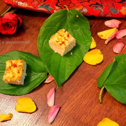 Chandan keshariya bhapa sandesh  Sandalwood flavoured steamed cottage cheese desserts
