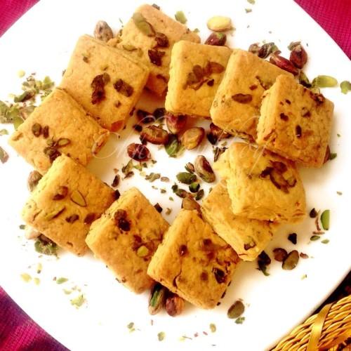 Eggless Kesar Pista Saffron Pistachio Cookies