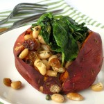 Baked Sweet Potatoes with Cannellinis and Baby Spinach