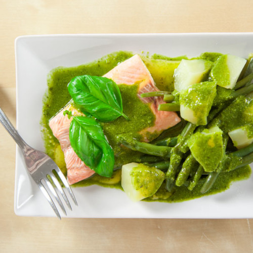 Salmon with Pesto Sauce