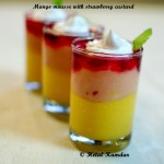 Mango mousse with strawberry custard