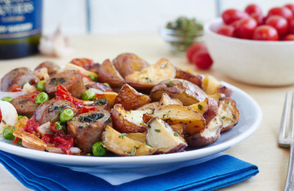 Sherry Baked Chicken Sausage with Thyme Potatoes
