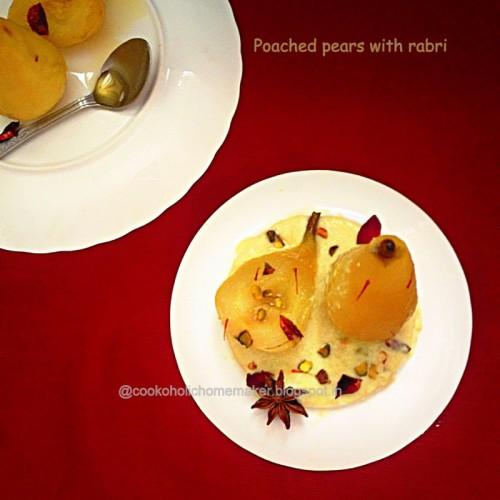 Poached Pears with Kesari rabri