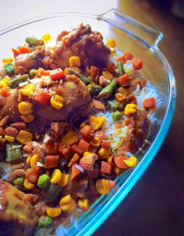Chicken Drumstick and Veggies in Spicy Coconut Cream Sauce