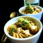 Broccoli Eggplant Pasta in White Wine Sauce