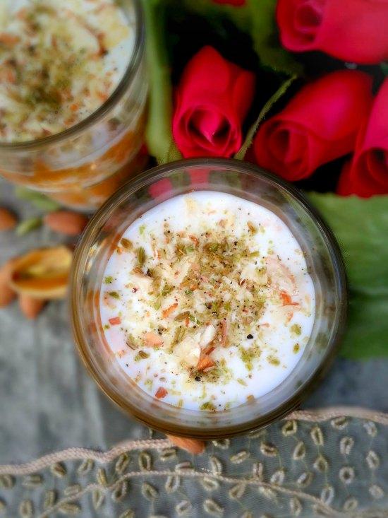 Gajar ka Halwa with Almond Saffron Cream  Layered Indian Carrot Pudding