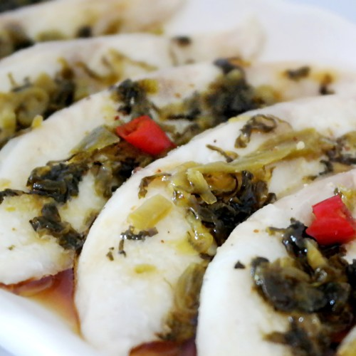 Yummy Steamed Toman Fish Fillet with Japanese Takana