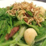 Refreshing Green Dragon Vegetables with Jin Hua Ham   Crispy Silver Fish