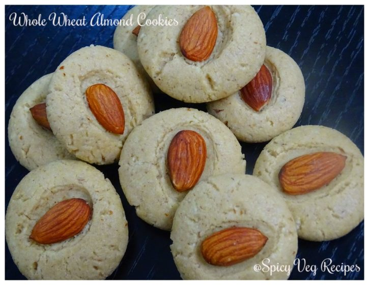 Egg less whole wheat almond cookies recipe Step by step ...