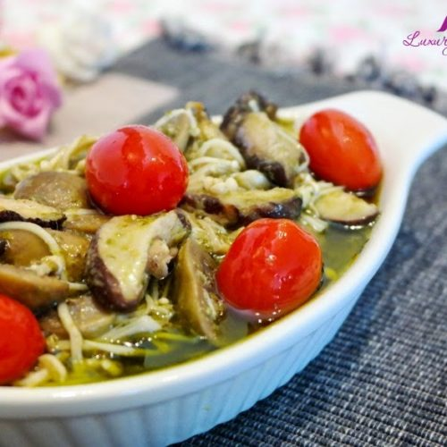 Tantalizing Baked Lemon Pesto Mushrooms Casserole