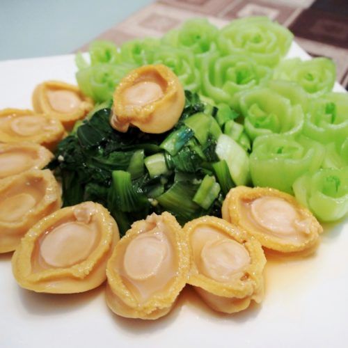 Baby Abalone with Bok Choy   Vegetable Flowers Tips