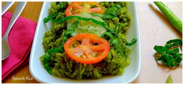 Spinach Rice Palak Chawal Recipe