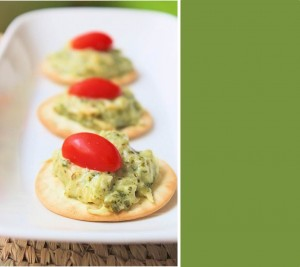 Goat Cheese Spread (Dip) with Spinach-Basil Pesto