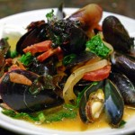 Mussels with Chorizo and Winter Greens