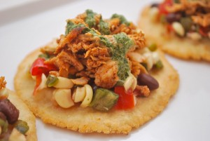 Spicy Chicken Tostaditos with Creamy Cilantro Drizzle