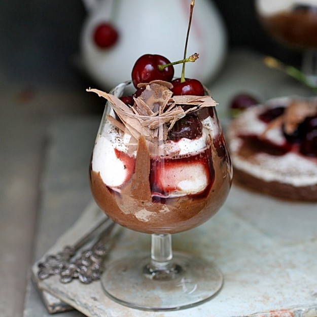 Chocolate marquis and cherries