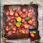 Rich Bittersweet Chocolate Orange Strawberry Tart
