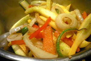 Veggies done! Remove from pan and set aside.