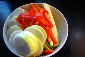 Veggies, Sliced pretty! I used onions, red bell peppers, yellow squash, and zuchini
