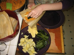 Assembling vegetarian tamale