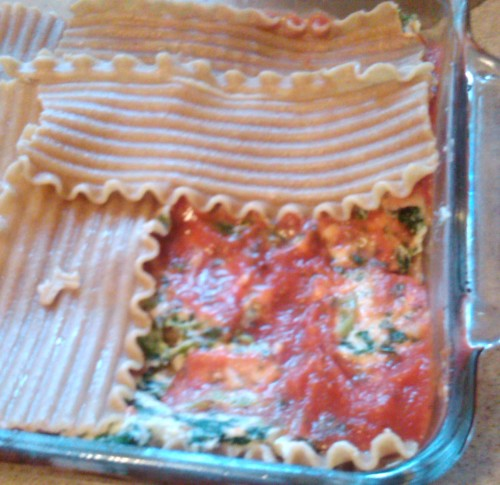 Assembling the lasagna