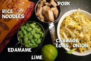 Noodles, edamame, pork, lime juice, cabbage, eggs, onion