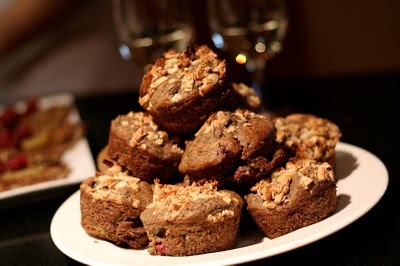 raspberry peach whole grain muffins
