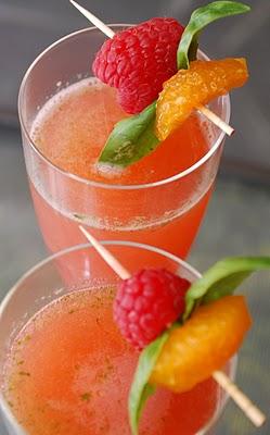 raspberry, orange and basil champagne