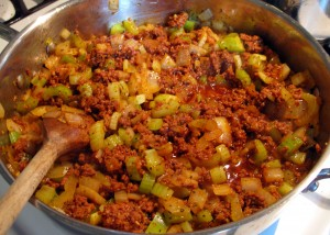 Brown chorizo, veggies and spices