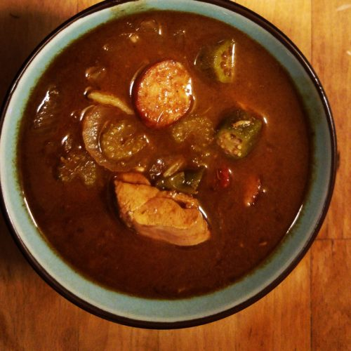 bowl of sausage and chicken gumbo